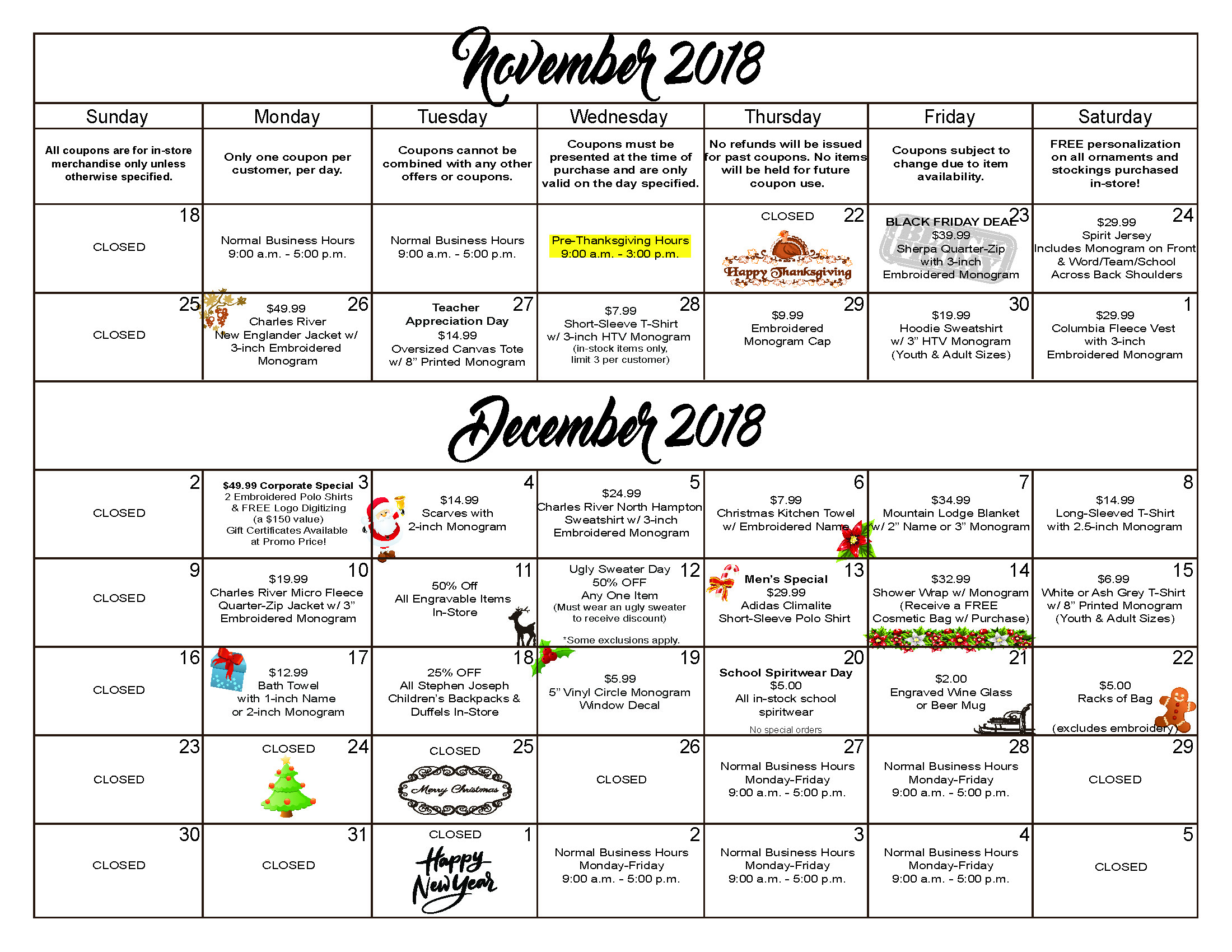 2018 Calendar of Coupons