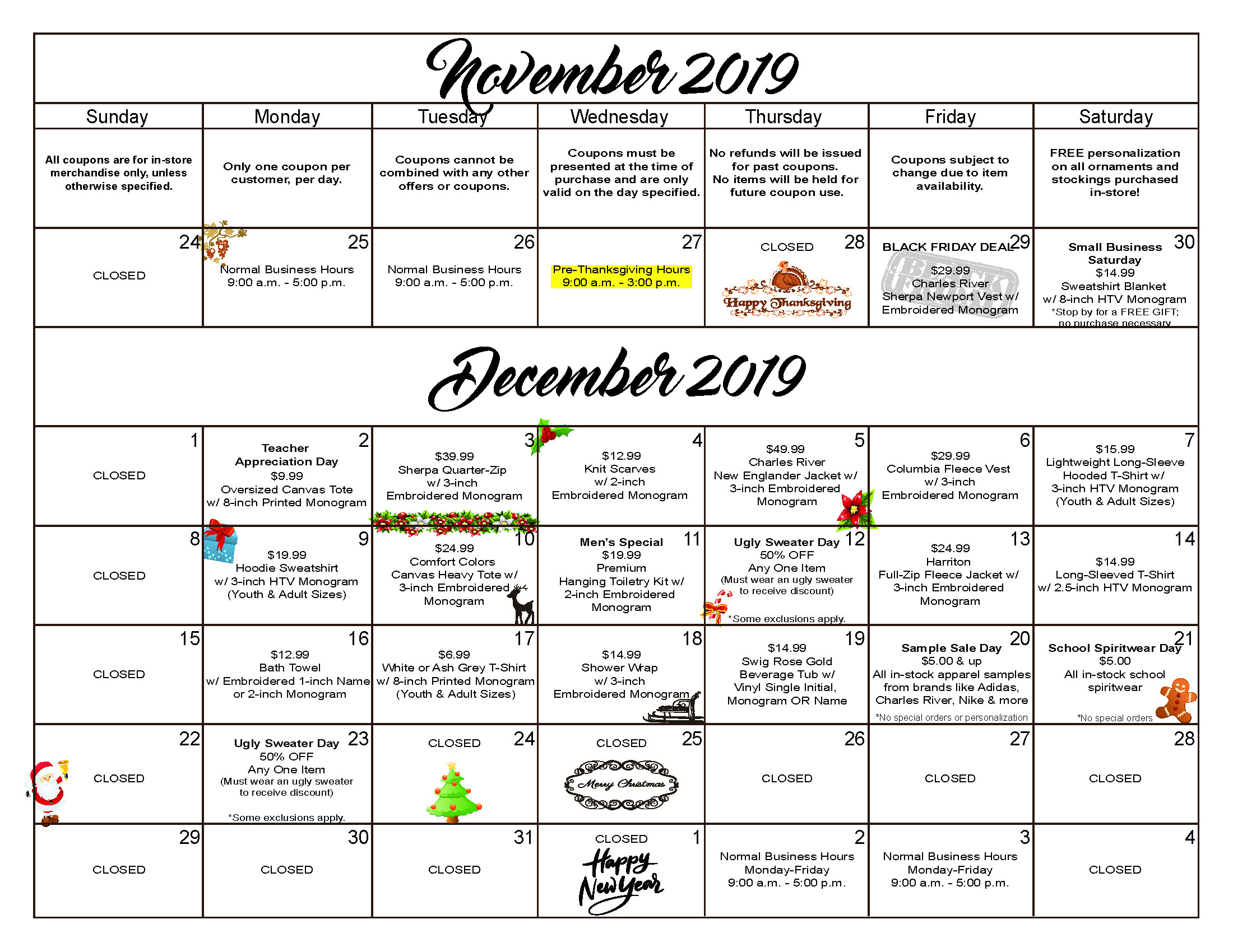 2019 Calendar of Coupons