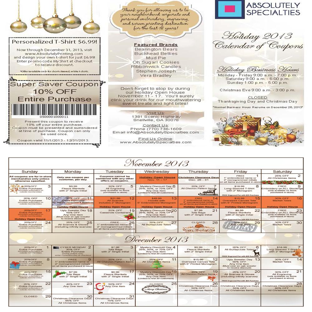 calendar of coupons